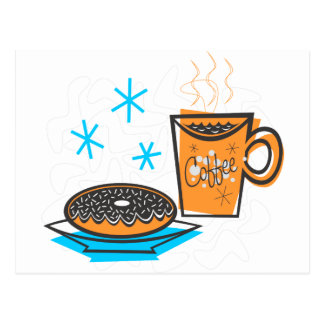 Retro Coffee and Doughnut Postcard