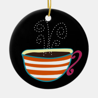 Retro Coffee Cup Tea Custom Round Ceramic Decoration