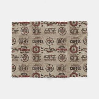 Retro Coffee Labels for Coffee Lovers Fleece Blanket
