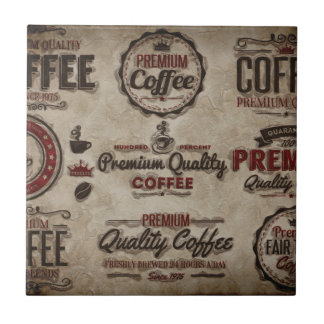 Retro Coffee Labels for Coffee Lovers Tile
