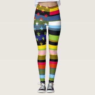 Retro Color American Flag #3 Leggings