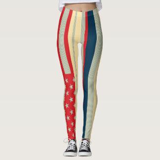 Retro Color American Flag #8 Leggings