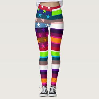 Retro Color American Flag Leggings