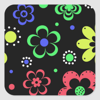 Retro Color Flower Pattern Square Stickers