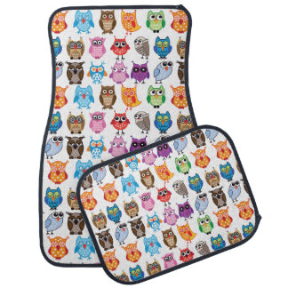 Retro Color Owl Pattern Car Mat