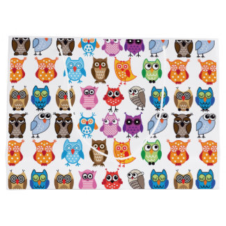 Retro Color Owl Pattern Large Gift Bag