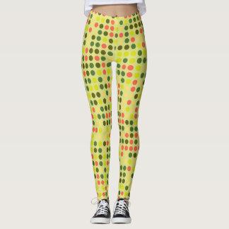 Retro Color Polka Dots Pattern #10 Leggings