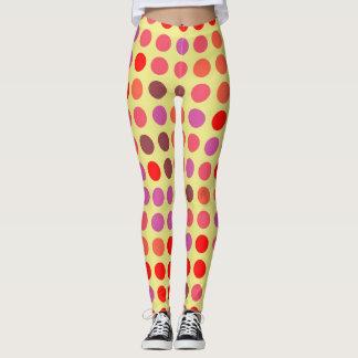 Retro Color Polka Dots Pattern #21 Leggings