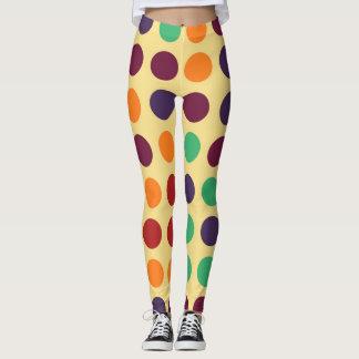 Retro Color Polka Dots Pattern Leggings
