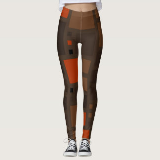Retro Color Squares Pattern Leggings