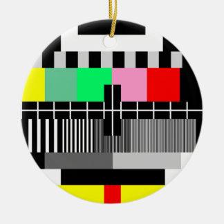 Retro color tv test screen christmas ornament