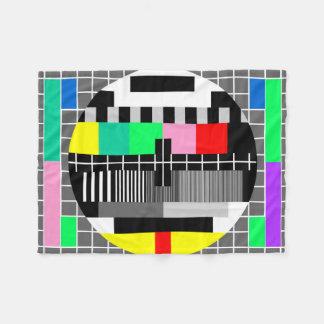 Retro color tv test screen fleece blanket