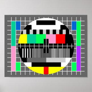 Retro color tv test screen poster