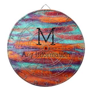 Retro Color Wood Grain Texture Monogram Dartboard