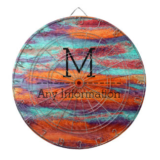 Retro Color Wood Grain Texture Monogram Dartboard With Darts