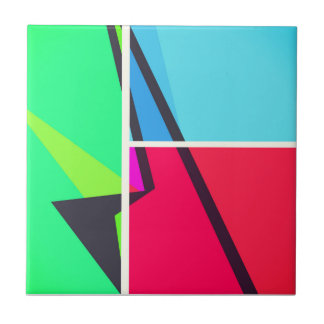Retro Colorbox Geometric Abstract Pattern Small Square Tile