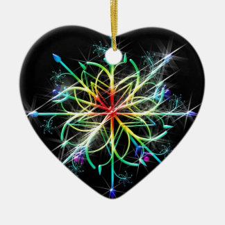 Retro Colored Star Ceramic Heart Decoration