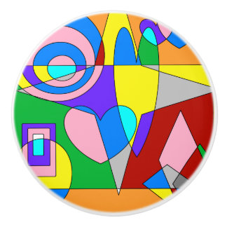 Retro Colorful Abstract Ceramic Knob