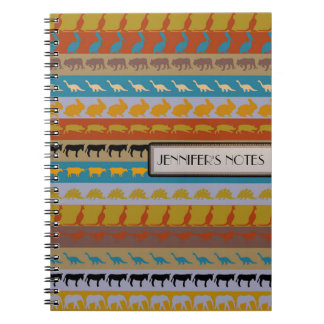 Retro Colorful Animals Modern Stripes Pattern #10 Spiral Notebook