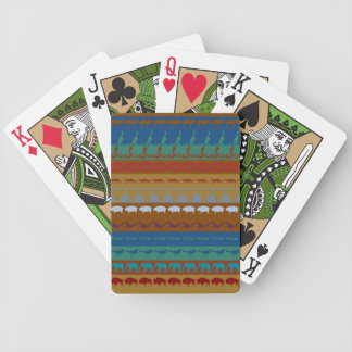 Retro Colorful Animals Modern Stripes Pattern #12 Bicycle Playing Cards