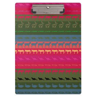 Retro Colorful Animals Modern Stripes Pattern #12 Clipboard
