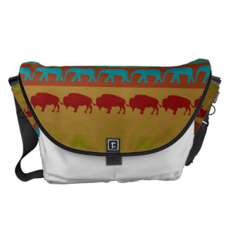 Retro Colorful Animals Modern Stripes Pattern #12 Courier Bag