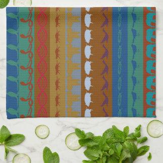 Retro Colorful Animals Modern Stripes Pattern #12 Tea Towel