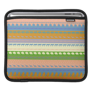 Retro Colorful Animals Modern Stripes Pattern #13 iPad Sleeve