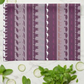 Retro Colorful Animals Modern Stripes Pattern #16 Tea Towel