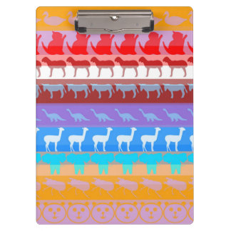 Retro Colorful Animals Modern Stripes Pattern #2 Clipboard
