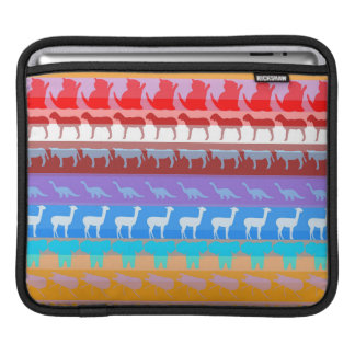 Retro Colorful Animals Modern Stripes Pattern #2 iPad Sleeve