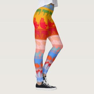 Retro Colorful Animals Modern Stripes Pattern #2 Leggings