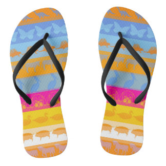 Retro Colorful Animals Modern Stripes Pattern #3 Flip Flops