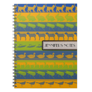 Retro Colorful Animals Modern Stripes Pattern #3 Notebook