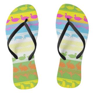 Retro Colorful Animals Modern Stripes Pattern #4 Flip Flops