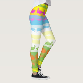 Retro Colorful Animals Modern Stripes Pattern #4 Leggings