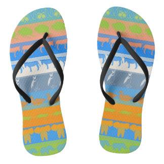 Retro Colorful Animals Modern Stripes Pattern #5 Flip Flops