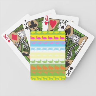 Retro Colorful Animals Modern Stripes Pattern #6 Bicycle Playing Cards