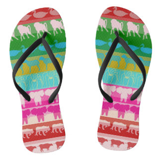 Retro Colorful Animals Modern Stripes Pattern #6 Flip Flops