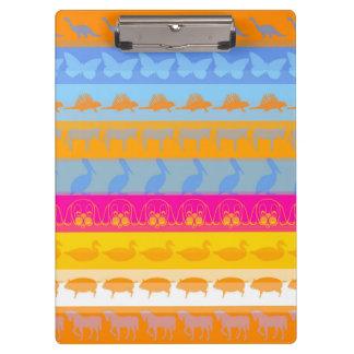 Retro Colorful Animals Modern Stripes Pattern #7 Clipboard