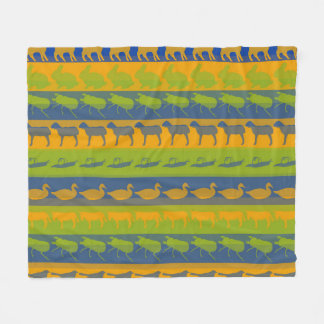 Retro Colorful Animals Modern Stripes Pattern #7 Fleece Blanket