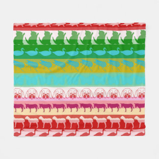 Retro Colorful Animals Modern Stripes Pattern #8 Fleece Blanket