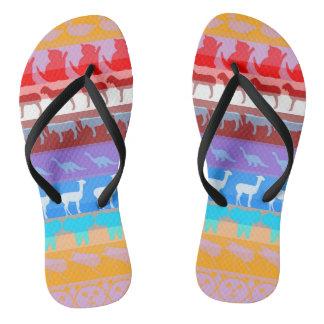 Retro Colorful Animals Modern Stripes Pattern #8 Flip Flops