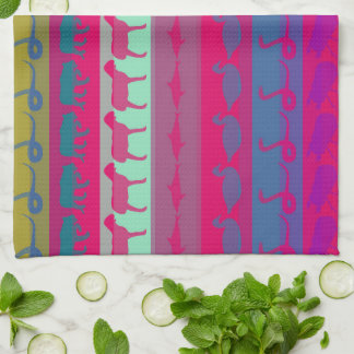 Retro Colorful Animals Modern Stripes Pattern #8 Tea Towel