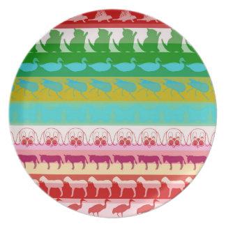 Retro Colorful Animals Modern Stripes Pattern #9 Plate