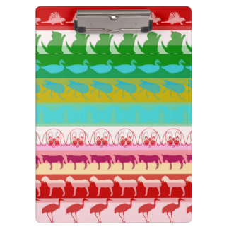 Retro Colorful Animals Modern Stripes Pattern Clipboard
