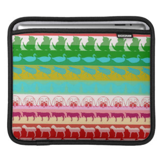 Retro Colorful Animals Modern Stripes Pattern iPad Sleeve