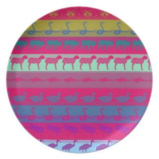 Retro Colorful Animals Modern Stripes Pattern Plate