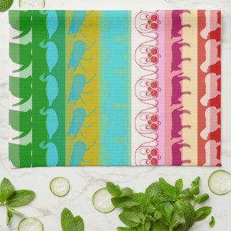 Retro Colorful Animals Modern Stripes Pattern Tea Towel