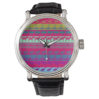 Retro Colorful Animals Modern Stripes Pattern Watch